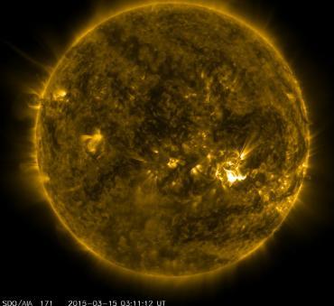 SDO/NASA Bild vom Flare, das wahrscheinlich einer der Auslöser für den Sonnensturm war.
